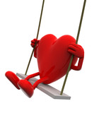 Heart with arms and legs on a swing