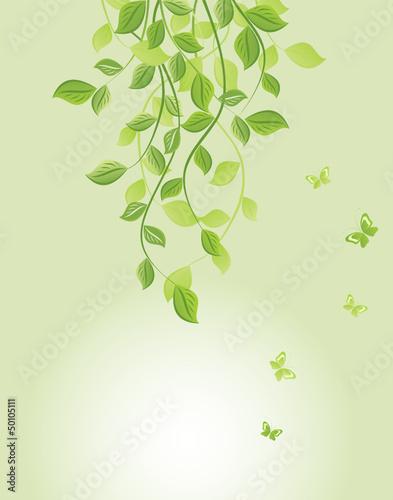 Spring green floral banner
