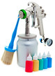 New metal brilliant Spray gun and small bottles with color..