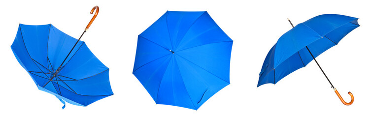 Collection of blue umbrellas