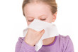 Child and girl - illness, runny nose, tissue and blowing nose