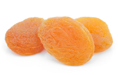 Dried apricot fruits on white