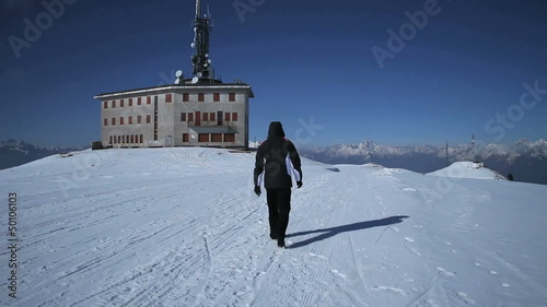 Man walking on the snow