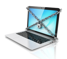 data security - laptop with padlock