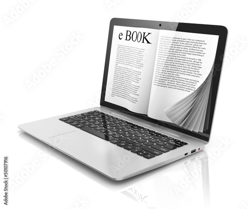 e-book 3d concept - book instead of display