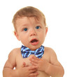 Baby boy wearing a bow tie.