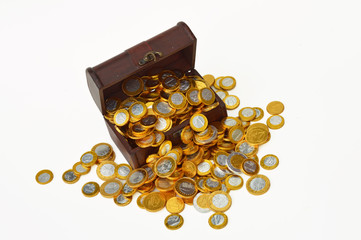 Treasury trunk with chocolate candy euro coins