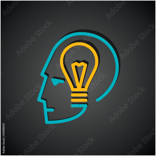 Illustration of bulb in human head