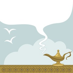 May All Your Wishes Come True. Magic lamp and space for text