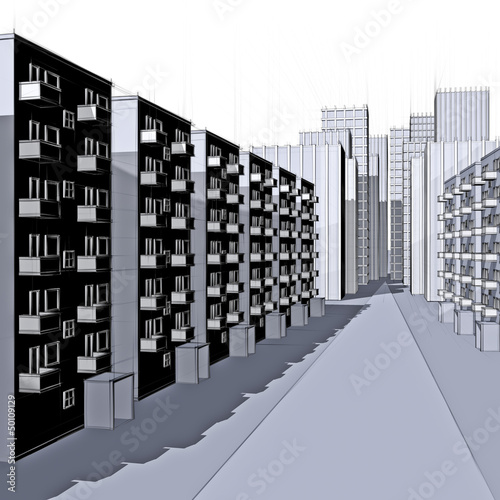 drawing of a apartment houses in the city