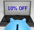 Ten Percent Off On Notebook Showing Reductions