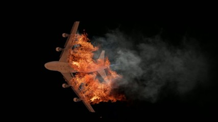 Burning aircraft with black screen