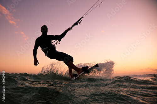 Kite boarding. Kitesurf freestyle