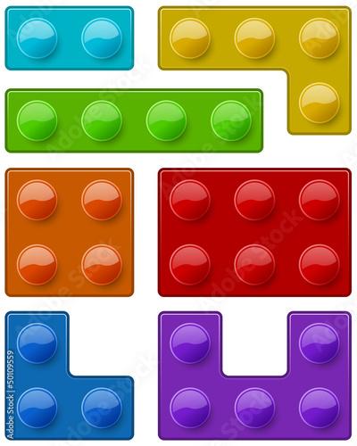 Construction toy block pieces template © tuulijumala