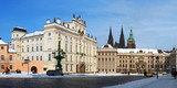 Panorama of Prague Castle and Archbishop's palace in winter
