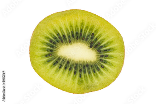 Slice of fresh kiwi fruit isolated on white