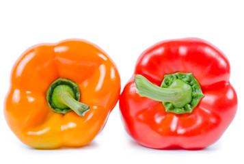 Red and orange pepper isolated