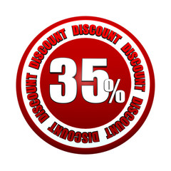 35 percentages discount 3d red circle label