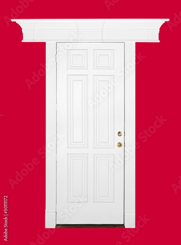 White wooden door with decorative frame isolated over red