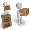 Rush Rubber Stamp On Boxes Showing Speedy Urgent Express Deliver