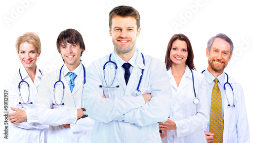 Smiling medical doctors with stethoscopes