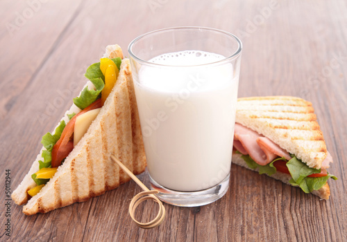 glass of milk and sandwich