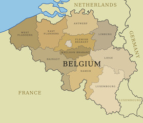 Belgium map with provinces