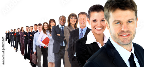 Business group in a row isolated over a white