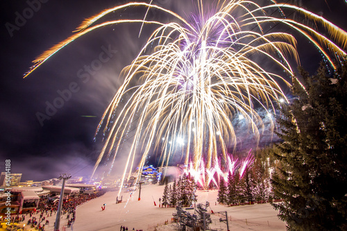Papiers peints Fete, Spectacle Feux d'artifice à Courchevel