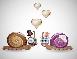 Isolated funny female and male snails. Illustration 10 version
