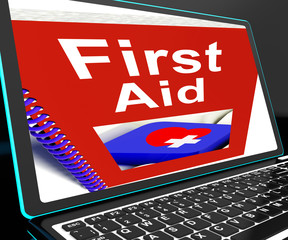 First Aid On Laptop Shows Medical Assistance