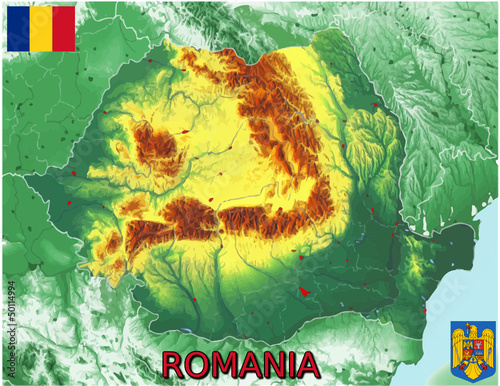 Romania Europe national emblem map symbol motto