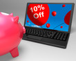 Ten Percent Off On Laptop Shows Small Discounts