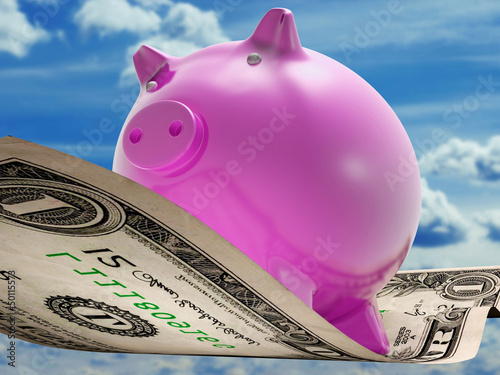 Dollars Note Pig Shows Prosperity And Investment
