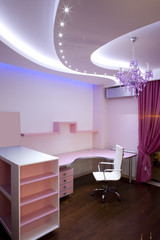 Interior of a modern pink room