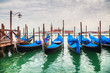 Gondolas floating in the Grand Canal of Venice