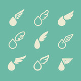 Drops and wings. Set of vector design elements