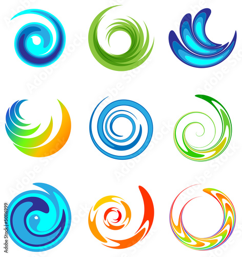set of abstract swirl design elements