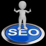 SEO Button Shows Internet Marketing And Optimizing