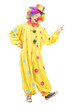 Full length portrait of a cheerful clown in a yellow costume