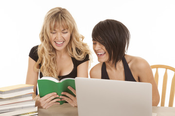 woman computer and read book smile