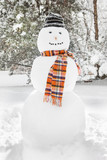 Merry White Snowman with a scarf and a hat