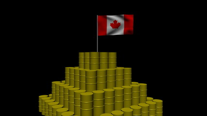 Stack of oil barrels with Canadian flag animation