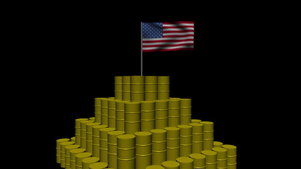 Stack of oil barrels with American flag animation