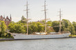 sailing ship on canal in downtown Stockholm, Sweden