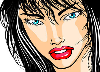 Face of woman in close-up - Comic