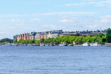 colorful waterfront buildings, Stockholm, Sweden