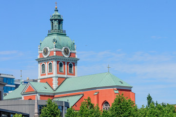 church tower in downtown Stockholm, Sweden