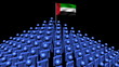 pyramid of men with rippling UAE flag animation
