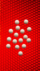 White pills on a red high tech grid background